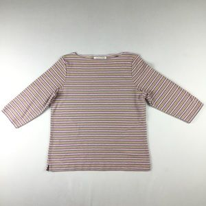 Susan Bristol Sz Med 3/4 Sleeve Pastel Striped Top